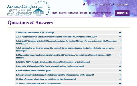 Screenshot of FAQ Page acjf.org - Q & A | ACJF - captured Feb. 2, 2018