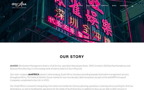 Screenshot of About Page dmasia.travel - dmASIA     OUR STORY - captured Aug. 9, 2018