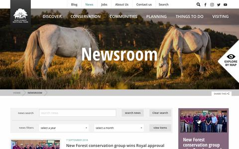 Screenshot of Press Page newforestnpa.gov.uk - Newsroom - New Forest National Park Authority - captured Sept. 22, 2018