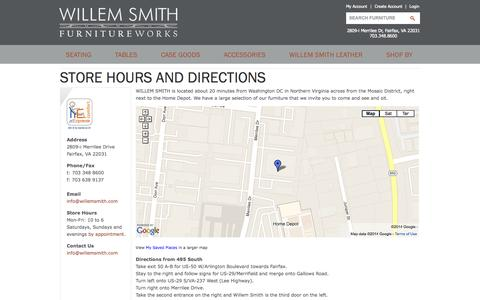 Screenshot of Maps & Directions Page willemsmith.com - Store Hours and Directions | Willem Smith - captured Oct. 29, 2014
