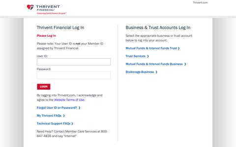 Screenshot of Login Page thrivent.com - Thrivent Financial - captured Feb. 12, 2019