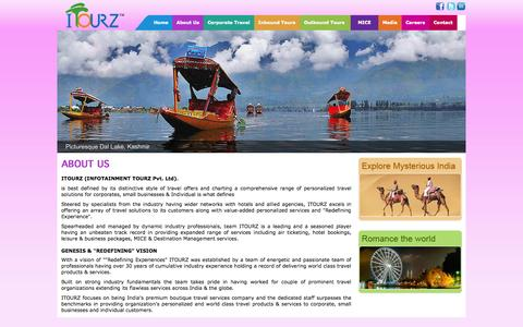 Screenshot of About Page itourz.in - Welcome To iTourz - captured Oct. 6, 2014