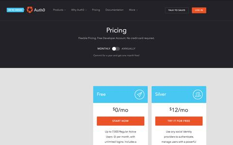 Screenshot of Pricing Page auth0.com - Pricing - Auth0 - captured Sept. 10, 2016