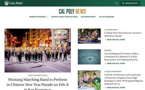 Screenshot of Press Page calpoly.edu - News | Cal Poly - captured Jan. 31, 2020