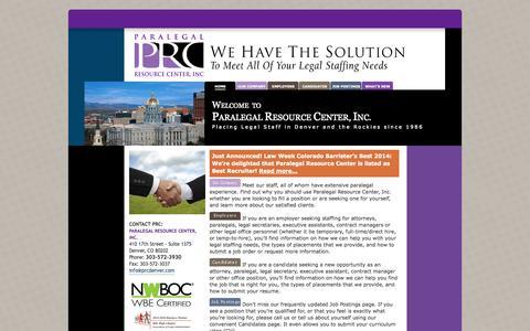 Screenshot of Home Page prcdenver.com - Paralegal Resource Center, Inc. Denver, Colorado - captured Oct. 1, 2014