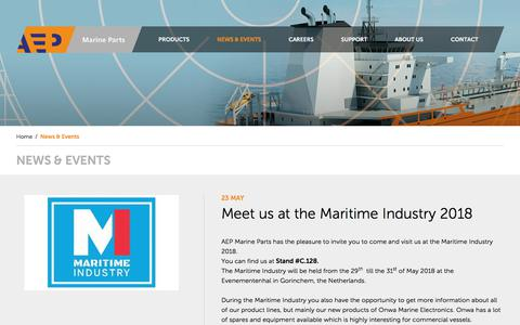 Screenshot of Press Page aepmarineparts.com - News & Events - AEP - captured July 28, 2018