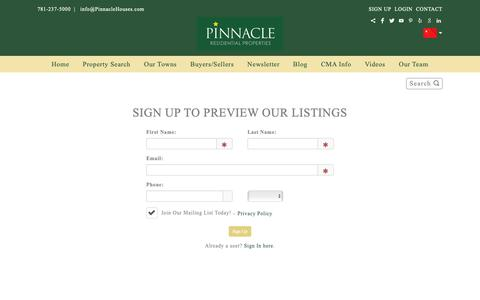 Screenshot of Signup Page pinnaclehouses.com - Welcome to Pinnacle - captured Sept. 28, 2018