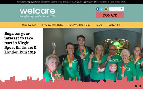 Screenshot of Home Page welcare.org - Welcare| Family-Support Charity| Here now, Here Always | Welcare is a family-support charity that helps children and families overcome challenges and build towards a better future. - captured Oct. 18, 2018