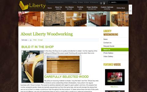 Screenshot of About Page libertywoodworking.com - About Liberty Woodworking - captured Oct. 2, 2014