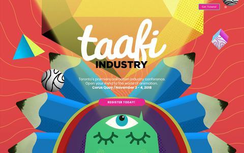 Screenshot of Home Page taafi.com - TAAFI – Toronto's Animation Festival - captured Oct. 18, 2018