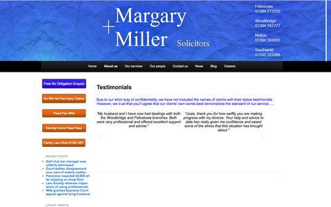 Screenshot of Testimonials Page margary-miller.co.uk - Client Testimonials - Margary + Miller SolicitorsMargary + Miller - captured Oct. 27, 2014