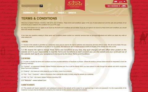 Screenshot of Terms Page nabeel.com - About term and conditions| perfumes| fragrances|oudh|attars|bakhoor|nabeel perfumes - captured Nov. 4, 2014