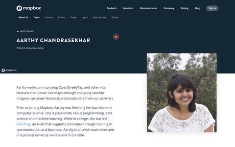 Screenshot of Team Page mapbox.com - Aarthy Chandrasekhar   Mapbox - captured Feb. 24, 2019