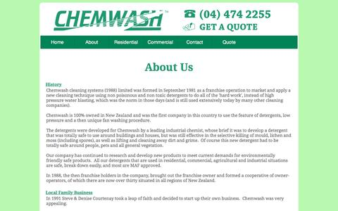 Screenshot of About Page chemwashcleaning.co.nz - Exterior House Washing & Interior Cleaning | Chemwash Wellington - captured April 11, 2017
