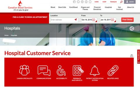 Screenshot of Support Page blood.ca - Hospital Customer Service   Canadian Blood Services - captured Oct. 18, 2016