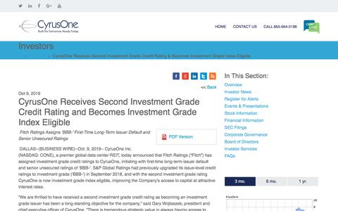 Screenshot of Press Page cyrusone.com - CyrusOne Receives Second Investment Grade Credit Rating and Becomes Investment Grade Index Eligible | CyrusOne - captured Nov. 27, 2019