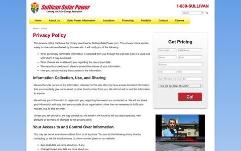 Screenshot of Privacy Page sullivansolarpower.com - Privacy Policy | Sullivan Solar Power - captured Sept. 25, 2014