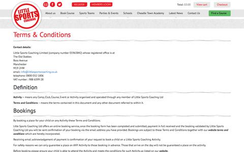 Screenshot of Terms Page littlesportscoaching.co.uk - Terms & Conditions | Little Sports Coaching - captured Aug. 24, 2017