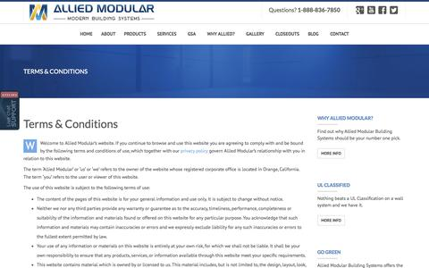 Screenshot of Terms Page alliedmodular.com - Allied Modular, Modular Building Systems, Terms & Conditions | Allied Modular - captured Oct. 4, 2014