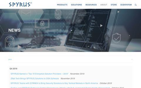 Screenshot of Press Page spyrus.com - News – SPYRUS - captured Nov. 17, 2019