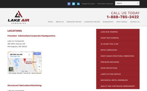 Screenshot of Locations Page lakeairmetals.com - Locations - Lake Air Companies - captured Oct. 19, 2016