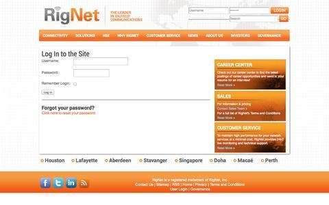 Screenshot of Login Page rig.net - Login RigNet - captured Oct. 9, 2014