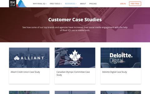 Screenshot of Case Studies Page rivaliq.com - Case Studies | Rival IQ - captured Nov. 10, 2019