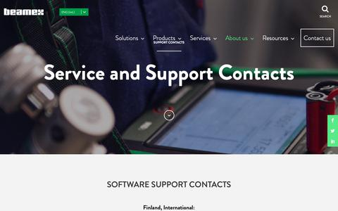 Screenshot of Support Page beamex.com - Support Contacts | Beamex - captured Oct. 5, 2018