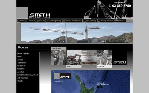 Screenshot of Locations Page smithcranes.co.nz - Smith Crane & Construction Limited - captured June 15, 2016
