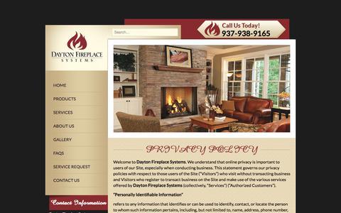 Screenshot of Privacy Page daytonfireplace.com - PRIVACY POLICY - Dayton Fireplace Systems - captured Sept. 25, 2018