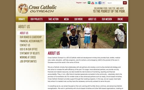 Screenshot of About Page crosscatholic.org - About Us (About Us) - captured Oct. 3, 2014