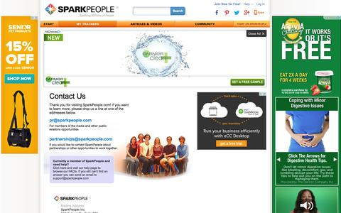 Screenshot of Contact Page sparkpeople.com - SparkPeople: Contact Us | SparkPeople - captured Sept. 18, 2014
