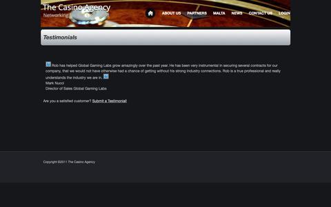 Screenshot of Testimonials Page thecasinoagency.com - Testimonials - captured Oct. 20, 2018