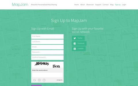 Screenshot of Signup Page mapjam.com - MapJam | Sign up - captured Sept. 19, 2014