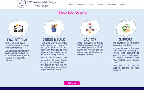 Screenshot of Support Page whitecloudwebdesign.co.uk - How We Work | Cheshire, UK | White Cloud Web Design - captured July 13, 2018