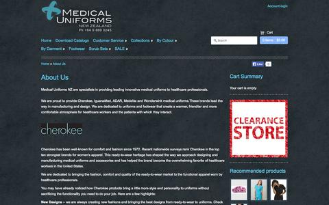 Screenshot of About Page medicaluniforms.co.nz - About Medical Uniforms NZ - captured Oct. 27, 2014