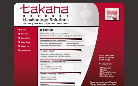 Screenshot of Services Page takanaco.com - Takana IT Services - captured Oct. 27, 2014