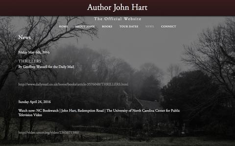 Screenshot of Press Page johnhartfiction.com - News — Author John Hart - captured May 14, 2016