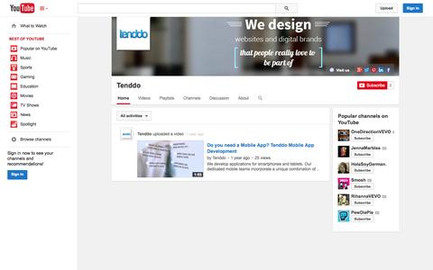 Screenshot of YouTube Page youtube.com - Tenddo  - YouTube - captured Oct. 25, 2014