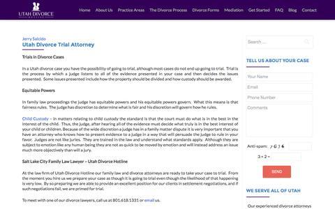 Screenshot of Trial Page utahdivorcehotline.com - Utah Divorce Trial Attorney   Salt Lake City Family Law Lawyer - captured Aug. 12, 2016