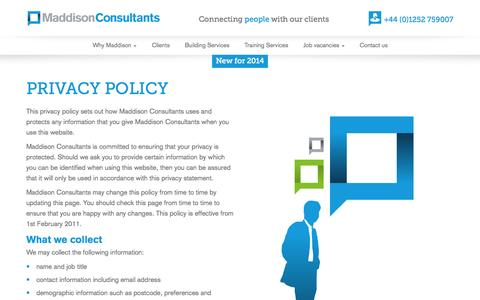 Screenshot of Privacy Page maddisonconsultants.co.uk - | Maddison Consultants - captured Oct. 3, 2014