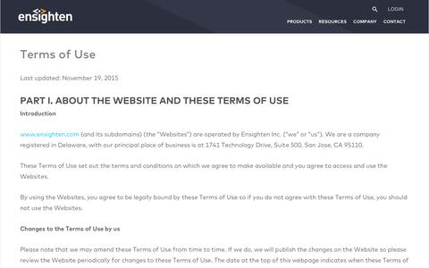 Screenshot of Terms Page ensighten.com - Terms of Use - Ensighten - captured Nov. 6, 2017