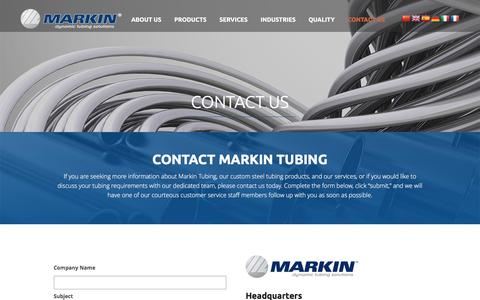Screenshot of Contact Page markin.com - Custom Steel Tubing Manufacturer: Contact Markin Tubing, NY - captured Feb. 12, 2016