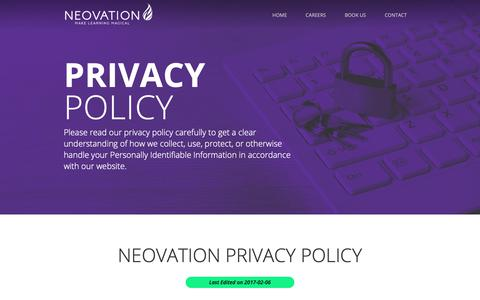 Screenshot of Privacy Page neovation.com - Privacy Policy   Neovation Learning Solutions - captured Oct. 20, 2018
