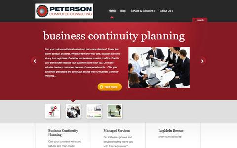 Screenshot of Home Page getpcc.com - Peterson Computer Consulting - - captured Oct. 2, 2014