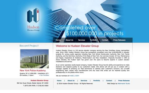 Screenshot of Home Page hudsonelevator.com - Welcome to Hudson Elevator Group - captured Feb. 1, 2016