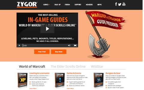 Screenshot of Home Page zygorguides.com - Zygor Guides - captured Sept. 22, 2014