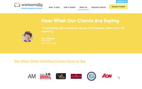 Screenshot of Testimonials Page workamajig.com - Workamajig™ Platinum   Testimonials - captured Jan. 11, 2016