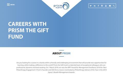 Screenshot of Jobs Page prismthegiftfund.co.uk - Careers - Prism Fund - captured June 17, 2019