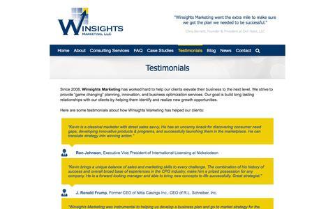 Screenshot of Testimonials Page winsightsmarketing.com - Testimonials - Winsights Marketing - captured Jan. 11, 2016